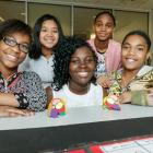Students with a completed model brain