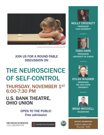 November 1st, 6:00-7:30  pm- The Neuroscience of Self-Control