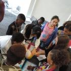 Students learn about the lobes of the brain