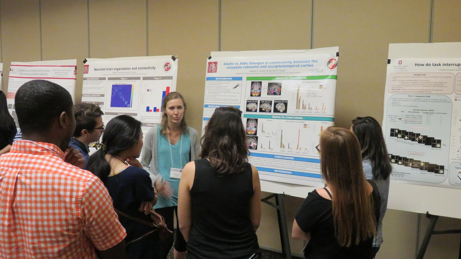 Grad student, Heather Hansen, presents her research at the CCBS Member Fall Retreat Poster session.